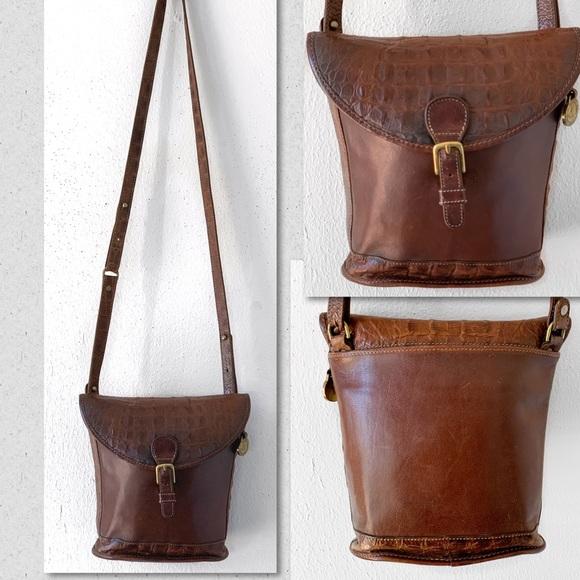 Brahmin Handbags - BRAHMIN CROCO CROSSBODY ADJUSTABLE BUCKET BAG